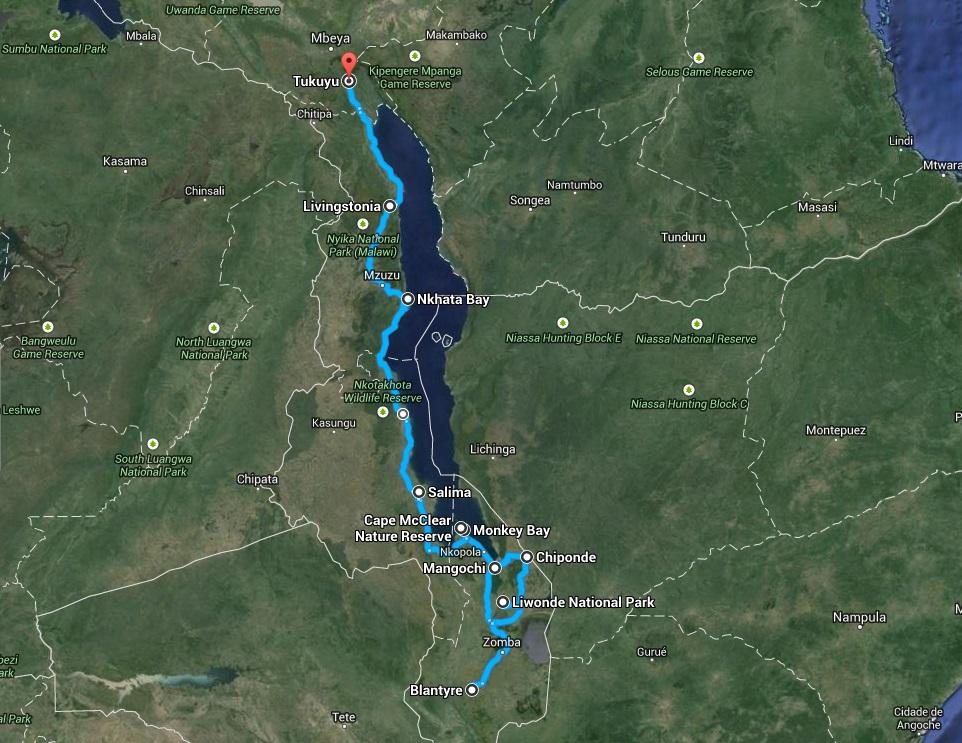 afryka malawi mapa