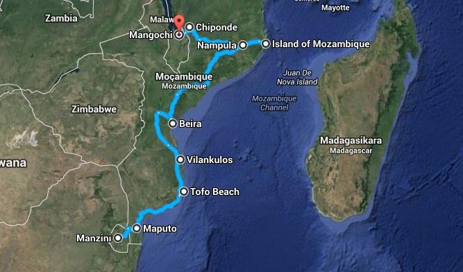 afryka mozambik mapa