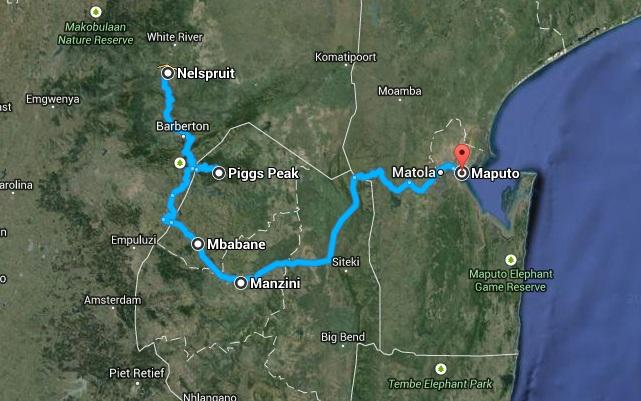 afryka swaziland mapa