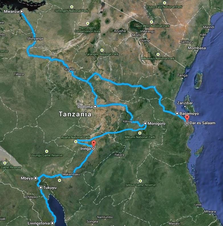 afryka tanzania mapa