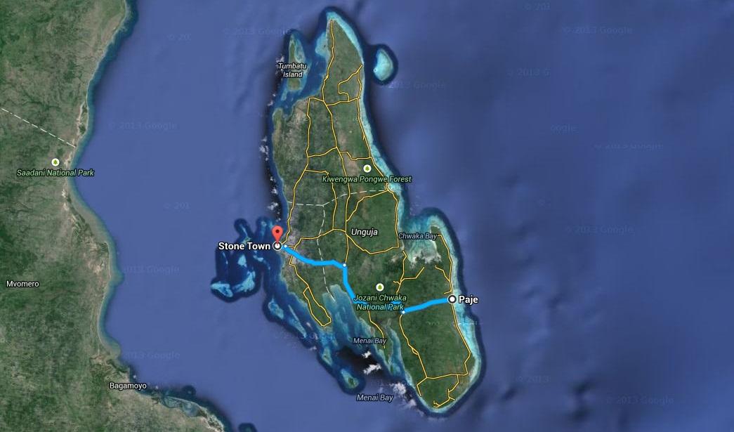 afryka tanzania zanzibar mapa